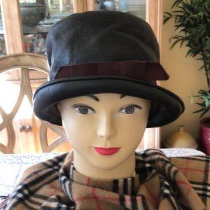 🌺 VINTAGE & RARE! Joseph Magnin Brown Leather Hat